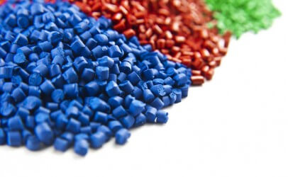 Image of raw materials used in manufacturing process, showing blue, red and green samples