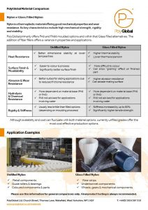 Image of Polyglobal Material Comparison fact sheet for Nylon versus Glass Filled Nylon