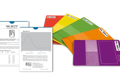 Image of colour samples and specification sheets
