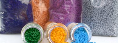 Photo of multi coloured raw materials used for moulding