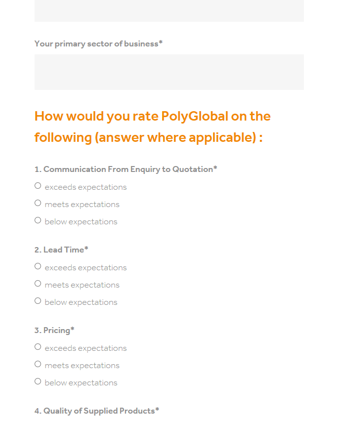 Blank form on how you would rate PolyGlobal
