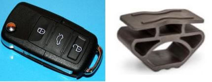 photo of car key and formed rubber component