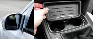 Image of example of Evoprene plastics range comprising of a car wing mirror and car interior