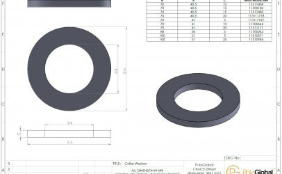 Image of a detailed CAD drawing of a collar washer